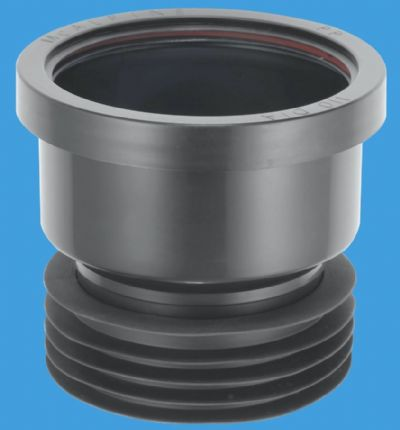 Plastic Soil Pipe 110mm to Cast Iron or Clay Black Connector